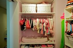 a perfectly organized closet/changing table (blogtownmom)