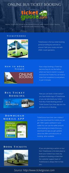 Want to book online bus ticket then ticket goose is a easy way to book. Find the bus, select the seat and pay through online your ticket will be booked  http://www.ticketgoose.com/