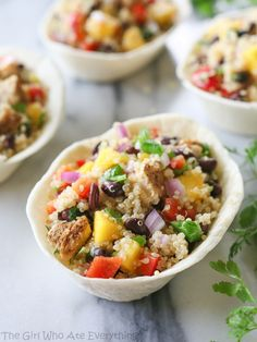 Mango Black Bean Chicken Quinoa Bowls | The Girl Who Ate Everything @girlwhoate