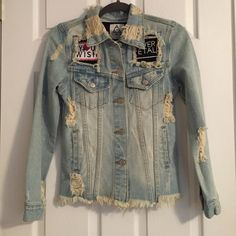 UNIF destroyed patchwork jean jacket Never worn in great condition! UNIF Jackets & Coats Jean Jackets