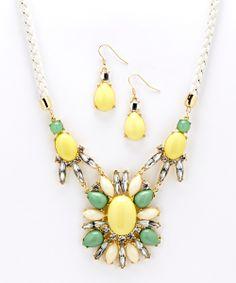 Yellow & Green Rope Bib Necklace & Teardrop Earrings