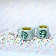 Miniature Starbucks Tea Earring with Silver Plated or by qminishop