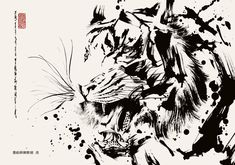 Drawing by Okazu Animal Sketches, Animal Drawings, Art Drawings, Tattoo Oriental, Koi Art, Fu Dog, Tiger Art, Samurai Art, Tiger Tattoo