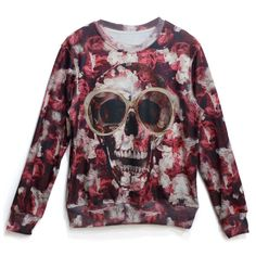 Spectacles Skull Print Unisex Sweatshirt (€20) ❤ liked on Polyvore featuring tops, hoodies, sweatshirts, red, skull sweatshirt, red top, red knit top, red sweat shirt and sweat shirts