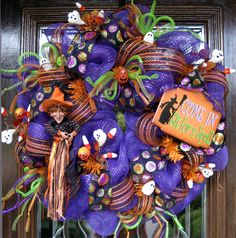 Deco Mesh HALLOWEEN SIT for a SPELL Wreath. $125.00, via Etsy.