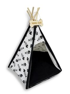 White and Black Fish Bone Print Pet Teepee Bed 26 X 24 In. -- Check out this great image  : dog beds