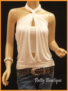 Sexy & Unique Ruched Halter 2 pcs Tops - Ivory White - Patty Selections