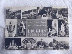 Authentique carte postale ancienne de Lourdes  Elle représente plusieurs vues de Lourdes  Il est écrit  Souvenir du Centenaire des Apparitions LOURDES 1858-1958  Carte vierge au dos  idéal dans un cadre photo ancien pour donner un charme chic et français  Largueur : 15 cm / 5.90 po  hauteur : 10.5 cm / 4.13 po  Shop friend: https://www.etsy.com/fr/shop/biarritzautrefois?ref=pr_faveshops  °°°°°°°°°°°°°°°°°°°°°°°°°°°°°°°°°°°°°°°°°°°°°°°°°°°°°°°°°°°°°°°°°°°°°°°°  Photos supplémentaires sur…