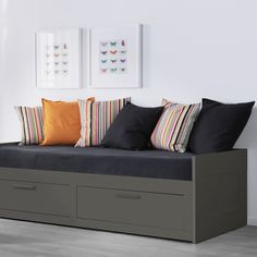 BRIMNES Daybed frame with 2 drawers, gray. Four functions in one: seating, single bed, bed for two, and two big drawers for storage. Large Cushion Covers, Large Cushions, Lit Ikea Brimnes, Chaise Longue Diy, Diy Daybed, Storage Daybed, Ikea Daybed, Daybed Room, Ikea Sofa