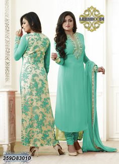 Refreshing Sea Green Coloured Semi stitched Salwar Suit