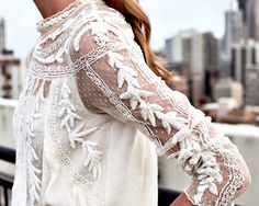 high collared white lace