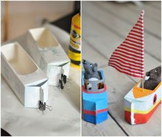 manualidades de carton Make A Boat, Diy Boat, Diy For Kids, Crafts For Kids, Arts And Crafts, Toddler Art, Toddler Crafts, Cardboard Crafts, Paper Crafts