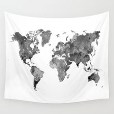 World map in watercolor gray Wall Tapestry