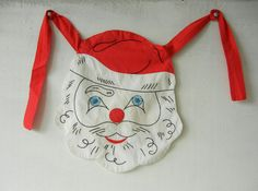 Vintage Christmas Santa Apron with Embroidered Details.