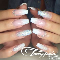 French fade nails crystals tammytaylor done at glitter ombre acrylic nail designs French Fade Nails, Faded Nails, Bridal Nails French, Faded French Manicure, Ombre French Nails, White French Nails, French Manicure Acrylic Nails, French Tip Nail Art, Wedding Gel Nails