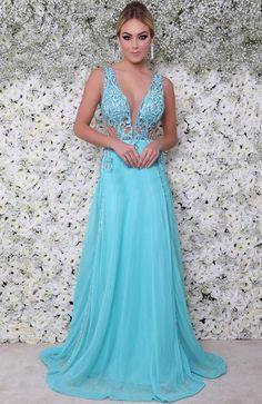 vestido longo azul tiffany Vestido De Festa Azul, Vestido De Festa Longo,  Roupas De 7ef890ff5f