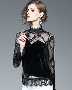 Bluza din catifea si dantela de ocazie neagra Sequin Skirt, Sequins, Women's Fashion, Casual, Skirts, Tops, Womens Fashion, Skirt
