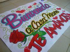Esta pancarta es muy especial para mi!♥  #mgntart  #família Rose Bun, English Phrases, Ideas Para Fiestas, Craft Gifts, Graffiti, Diy And Crafts, Recycling, Birthdays, Banner