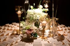 Greet guests with a romantically set escort card table