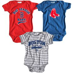 Boston Red Sox 3 Pack Boys Big League Baby Creeper Set by Soft as a Grape