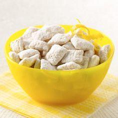 Chex Lemon Buddies -- rice chex, vanilla baking chips, butter, grated lemon peel, fresh lemon juice, powdered sugar