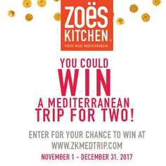 Enter for your chance to win a Mediterranean trip for two from Zoës Kitchen at www.ZKMedTrip.com