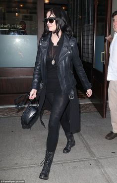 Up first: The 36-year-old was first spotted leaving her NY hotel in tight, sheer black leg...