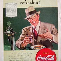 Vintage 1940 Coca Cola Coke Ad Advertisement Soda Fountain Coke Glass Mens Suit #CocaCola