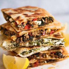 Stack of Gozleme with Spinach and Feta, spiced Lamb or Beef filling Herb Recipes, Low Carb Recipes, Cooking Recipes, Healthy Recipes, Vegetarian Recipes, Healthy Food, Snack Recipes, Turkish Flatbread Recipe, Flatbread Recipes
