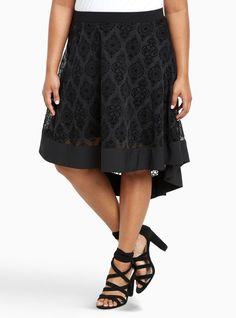 676a60591ac4d TORRID women s Burnout Velvet A-Line Midi Skirt size 20 low high black 1078