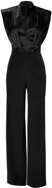 Jenny Packham Black  Embellished Silk Jumpsuit