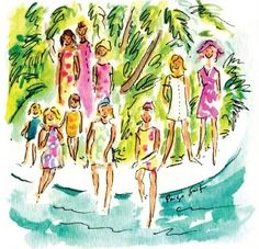 A Paige Smith painting of the Lilly Pulitzer In the Slim print-based on the photo by Slim Aarons.