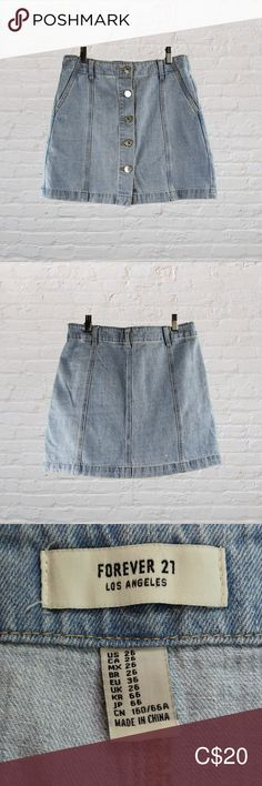 Forever 21 Button Front Denim Mini Skirt denim mini skirt in excellent condition. Denim Mini Skirt, Denim Shorts, Mini Skirts, Forever 21, Pink Bodysuit, China, Plus Fashion, Fashion Tips, Fashion Trends