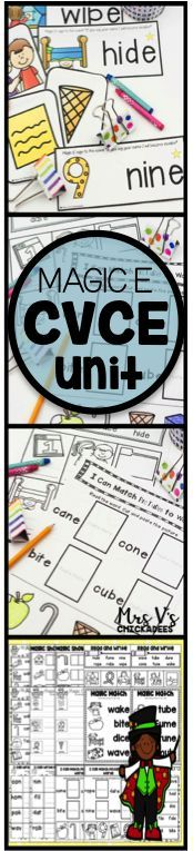 Great phonics unit for teaching CVCE (magic e, silent e) words. Hands on activities and worksheets make for a fun unit for whole or small group. Great for kindergarten or first grade