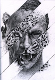 art inspo I found this collage piece of Usain Bolt and thought it was an interesting portrayal of the human cheetah Pencil Art Drawings, Art Drawings Sketches, Animal Drawings, Animal Paintings, Metamorphosis Art, Contrast Art, Art Du Croquis, L'art Du Portrait, Portrait Ideas