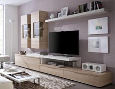 Contemporary wall storage system with tv shelf, display cabinets and low cabinet home ideas Living Room Wall Units, Small Living Rooms, Living Room Furniture, Media Furniture, Tv Stand With Storage, Tv Storage, Storage Ideas, Muebles Rack Tv, Ikea Storage Cabinets