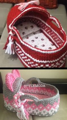 Crochet Baby Moses Bassinet Adorable crochet baby bassinet to make!Pink Baby Moses Basket , Baby Bassinet, Crocheted Moses Basket ,Cribs with Matress cradle t-shirt yarn basket, baby shower gift Baby Afghan Crochet, Crochet Bebe, Crochet Gifts, Crochet For Kids, Baby Moses, Crochet Amigurumi, Crochet Dolls, Baby Patterns, Crochet Patterns