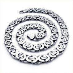 Silver Fashion Mens Titanium Necklace 19264