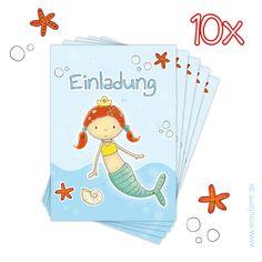 """10 Einladungskarte Kindergeburtstag """"Meerjungfrau"""" von emufarm® - personalisierte Geschenke für Ihren kleinen Schatz auf DaWanda.com"""