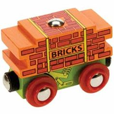 Bigjigs Wooden Railway-Bricks Wagon NEW £2.99