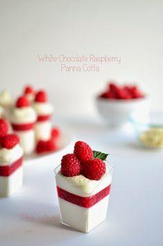 White Chocolate Raspberry Panna Cotta made with Plain Chobani Greek Yogurt.