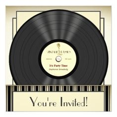 Vintage Microphone Vinyl Record Party Invitations - click/tap to personalize and buy