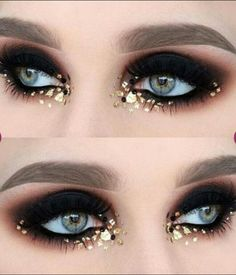 Halloween Makeup Ideas : Smokey eye make up gold glitter and sequins - Makeup İdeas Tutorial Makeup Hacks, Makeup Inspo, Makeup Art, Makeup Inspiration, Beauty Makeup, Hair Makeup, Makeup Ideas, Exotic Makeup, Makeup Trends