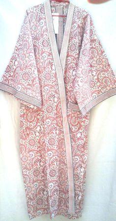 Beautiful Pink & Aqua Indian Floral Anokhi Hand block print Cotton Long Kimono robe One Size