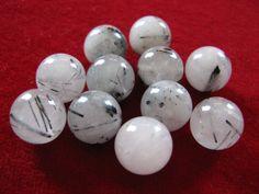 Tourmalinated Quartz Rounds, 12mm