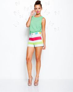 alice + olivia by Stacey Bendet Multicolor Stripe High Waist Short