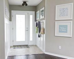 Grey walls, white door, white framed pieces.add our diplomas and special quotes, monograms