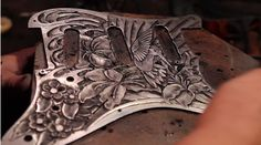 "Tarrera - ""Beija-Flor"" Pickguard by Fiction Pictures. Tarrera engraves a custom steel pickguard for guitarist Paul Pesco."