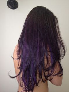Hairstyles : Brown To Purple Ombre Thrilling Dark Brown Ombre Hair . Dark Purple Hair Color, Brown Ombre Hair, Hair Color For Black Hair, Brown Hair Colors, Black To Purple Ombre, Brown Hair With Purple Highlights, Purple Style, Color Highlights, Burgundy Hair