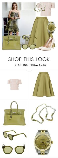"""""""Untitled #4654"""" by caroba ❤ liked on Polyvore featuring Rochas, Hermès, Trianon, Gentle Monster, Rolex and Gianvito Rossi"""